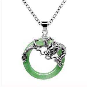 925 Silver Dragon Green Jade Necklace